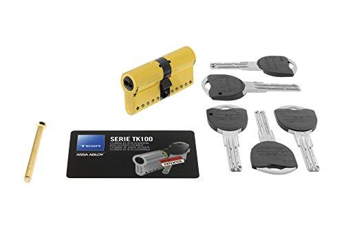 Tesa Assa Abloy TK153030L - Cilindro de alta seguridad TK100, 30x30 mm, Latonado