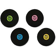 """Set de 4 Manteles individuales antideslizantes tipo LP """"The Vinyl/El Vinilo"""" Estilo Retro"""