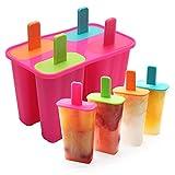 DEHUB Eisformen, 4 Eisformen Popsicle Formen Set, Ice Lolly Mold FDA-zertifizierter Food Grade-Silikon-Ice-Pop-Maker, BPA-freie Popsicle-Formen mit Sticks und Tropfschutz