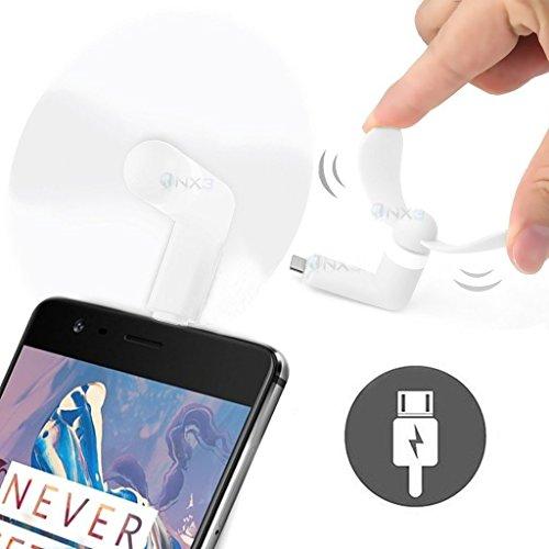 ONX3® (WEISS) LG COOKIE 3G Mobile Handy-bewegliche Taschen-Sized Fan-Zusatz für Android Micro USB-Anschluss Smartphone (3g-handy Mobile Lg)