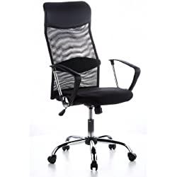HJH Office 621100 - Silla de oficina con respaldo de rejilla, color negro