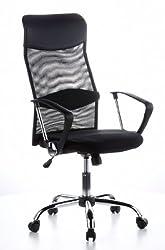 hjh OFFICE 621100 Bürostuhl Chefsessel ARIA HIGH Netzstoff schwarz, verstellbares Lordosenkissen für den Rücken, robuster Netzstoff, Drehstuhl ergonomisch, feste Armlehnen, Schreibtischstuhl