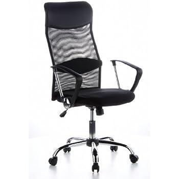 hjh OFFICE 621100 chaise de bureau, fauteuil de bureau ARIA HIGH noir, siège en simili-cuir avec accoudoirs, soutien lombaire intégré au dossier ergonomique très haut, dossier en tissu maille respirant