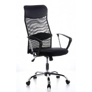 hjh OFFICE 621100 silla de oficina ARIA HIGH tejido de malla / piel sintética negro con reposabrazos inclinable silla de escritorio