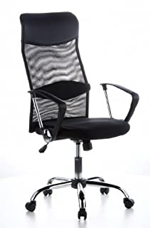 hjh OFFICE 621100 silla de oficina ARIA HIGH tejido de malla / piel sintética negro, muy cómodo, respaldo alto elegante, con soporte lumbar, cromado, con apoyabrazos, silla escritorio, silla giratoria, home office (B004G95IN0) | Amazon price tracker / tracking, Amazon price history charts, Amazon price watches, Amazon price drop alerts
