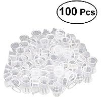 ULTNICE 100pcs tapas de tinta del tatuaje vasos de tinta desechables Kits de tatuaje 15 mm tamaño L (blanco)