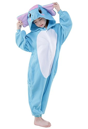 Elephant Damen Kostüm (Kenmont Jumpsuit Tier Cartoon Einhorn Pyjama Overall Kostüm Sleepsuit Halloween Cosplay Animal Sleepwear für Kinder Baby (Größe105: Höhe 105-120, Elephant))