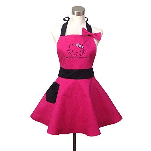 Lovely Hello Kitty Pink Retro Küche Schürzen für Damen, Mädchen Baumwolle Kochen Salon Latzschürze Vintage Schürze Kleid