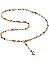SilberDream Fußkette Damen Herz Zirkonia 25,5cm Rose vergoldet und 925 Silber SDF0295E