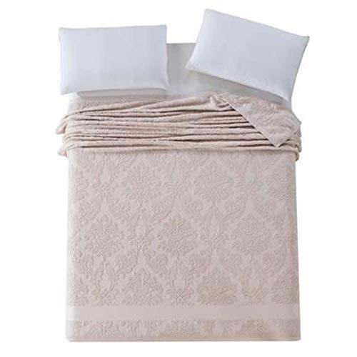 SPRFUL Baumwolldecke im japanischen Stil Erwachsene volle Queen-Size-Blumenmuster Jacquard Sommer Handtuch Decken auf dem Bett, Schokolade, 180x220cm - Bett Queen-schokolade