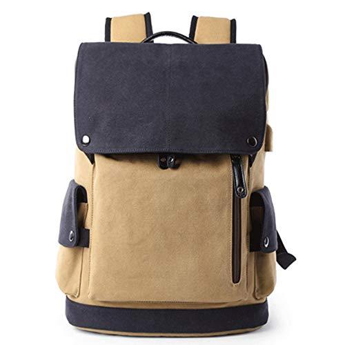 L-LK Outdoor-Segeltuch-Rucksack, wasserdichter Spielraum Wandern Camping Rucksack Pack mit USB-Anschluss aufladen 15-Zoll-Wasserdicht Beiläufiges Daypack Large Ausbildung Abitur Tasche for Junge Männe