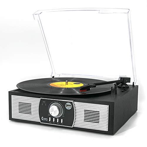 Platine Vinyle, VINYL MUSIC ON Tourne-Disque Bluetooth 33/45/78 TR / Min avec Haut-Parleurs...