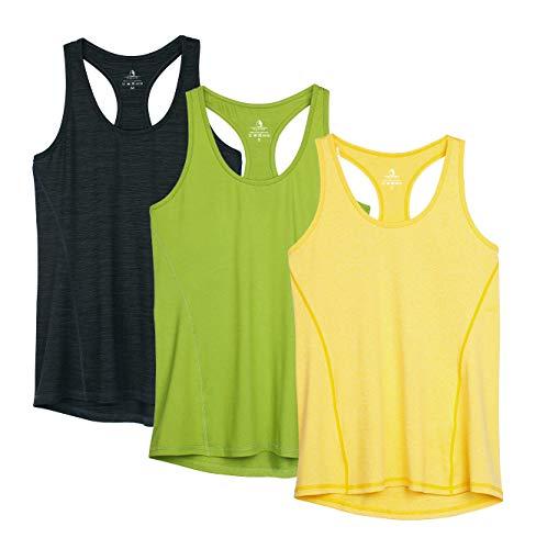icyzone Damen Sporttop Yoga Tank Top Ringerrücken Oberteil Laufen Fitness Funktions Shirt (L, Ombre Blue/Spectra Yellow/Green Glow)