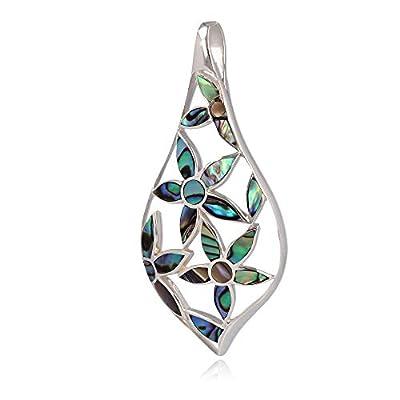 Cadeau bijoux-Pendentif - Nacre abalone- Fleur-Argent massif-Femme