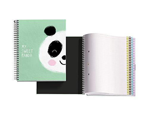 Miquelrius pack con 3quaderni spirali a5120fogli a quadretti interno 4colori, jordi labanda panda verde