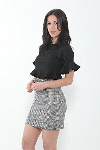 Momo&Ayat Fashions Camicia - Top - Maniche Corte - Donna Black