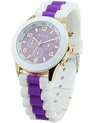 GENEVA Mujeres Silicon Banda Jalea Gel Cuarzo Reloj de Pulsera Purpura