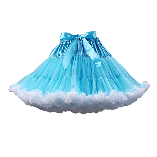 PhilaeEC Frauen Tüll Petticoat Tutu Party Multi-Layer Puffy Cosplay Rock(Blau+Weiß) (Nylon Rock A-linie)