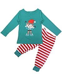 FastDirect Conjunto Pijamas Familia Navidad a Juego con Dos Piezas Top Manga Larga Pantalones Rayas