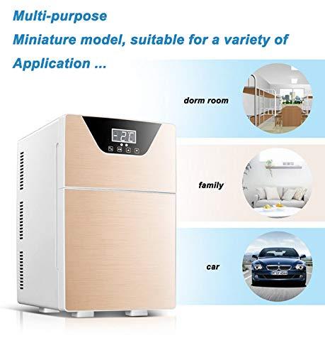41EEyyaH4ZL - JCDZSW Refrigerador de automóvil CNC de Tres núcleos 20L Mini refrigerador pequeño de Doble Uso para el hogar Adecuado para refrigeradores de Alimentos, medicamentos, cosméticos, hogar y Viajes,Plata