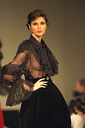 712013 Woman Wearing Black Top With Large Ruffled Lace Collar A4 Photo Poster Print 10x8 (Lace Ruffled Top)