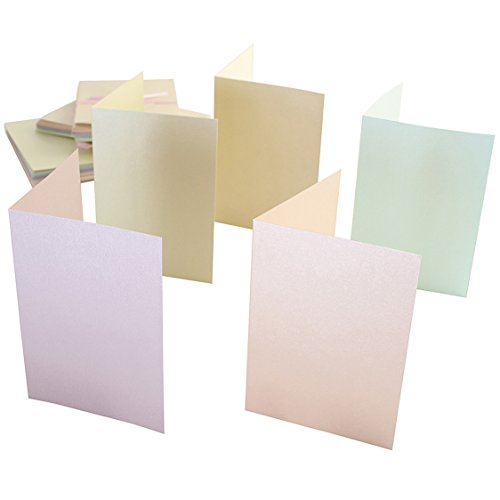 Anita's A6 Card and Envelope, Pack of 50, Pastel Pearlescent