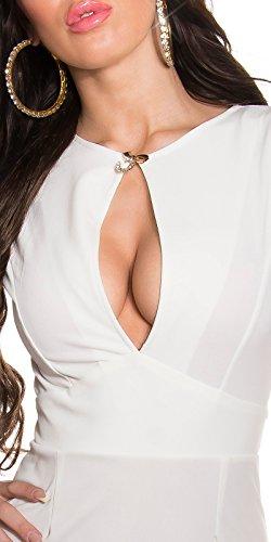 In-Stylefashion - Robe - Crayon - Femme blanc Weiß L Weiß
