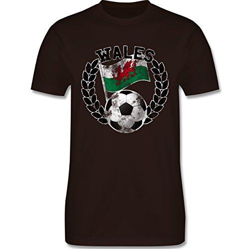 EM 2016 - Frankreich - Wales Flagge & Fußball Vintage - Herren Premium T-Shirt Braun