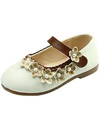 Amur Leopard Zapatos Princesa de Niña Retro con Flores y Perlas Artificiales Vintage Mercedita Elengante
