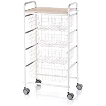 Don Hierro - Verdulero metálico lacado blanco, 4 cestas