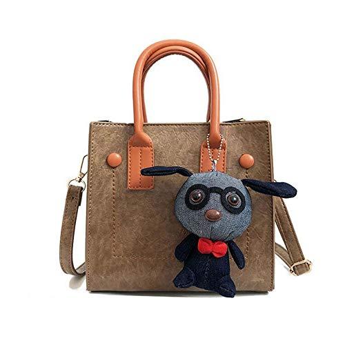 Uzanesx PU-Leder Handtasche Damen Hobo Bag Schulranzen und Zubehör (Color : Khaki) -