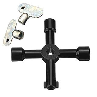 Topways® Schlüssel für Heizkörper/Messgeräte Set: 4 Wege Multifunktionale Utilities Schlüssel Heizkörper & Entlüftungsschlüssel Heizungsentlüfter Schlüssel Heizungsschlüssel entlüften 2 Stück