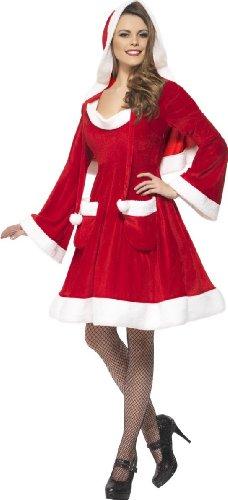 Smiffys SMIFFY 'S Santa in The City Kostüm Kleid mit Kapuze und Taschen, Rot, - Santa Kostüm Tasche