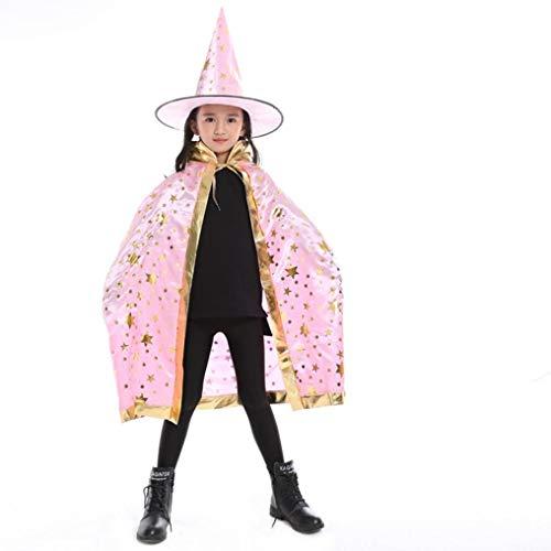 QinMM Kinder Erwachsene Kinder Halloween Baby Party Kostüm, Zauberer Hexe Mantel Cape Robe + Hut Set Cosplay Freie Größe (Rosa)