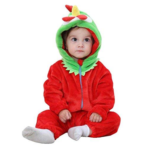 (Baby Tier Kostüme Tieroutfit Cosplay Jumpsuit Schlafanzug Mädchen Jungen Winter Nachtwäsche Strampler (0~24Monat) (100cm 18~24Monat, Rotes Küken))