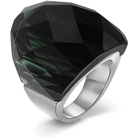 Donna-Anello da uomo in acciaio INOX di medie dimensioni, colore: nero cristallo-Anello in argento, misura da 6 a