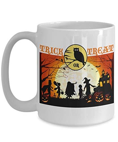 Halloween Coffee Mugs - Trick Or Treat Party Halloween Coffee Cups 11 oz & 11 oz White & Black Both Sides Print Mug