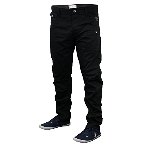 Hommes Coutures Tournantes Conique Coupe Standard Jeans Chino By Crosshatch Noir