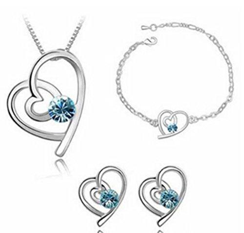 Scrox Halskette Ohrringe Set, Schmuck österreichischen Kristall Diamant Kleidung mit Zubehör, Halskette Ohrringe Anhänger Charme Armband