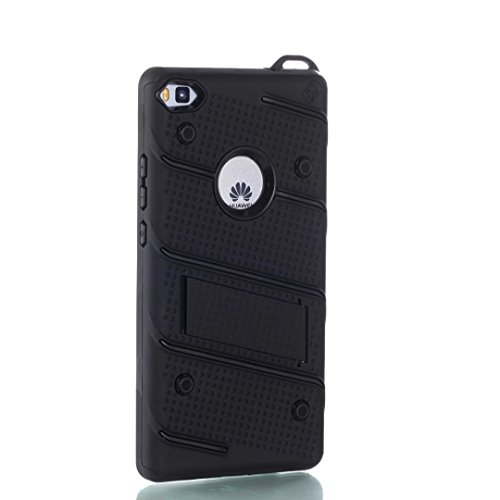 Ultra Thin Slim Dual Layer PC + Soft TPU Back Schutzhülle Case [Shockproof] mit Kickstand für Huawei P8 ( Color : Red ) Black
