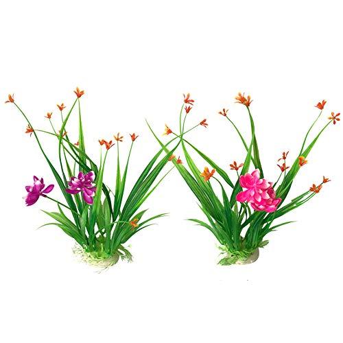 OTENGD 2PACK Aquarium Decor Pflanze Aquarium Blume Dekoration Seide Pflanzen Ornament Künstlicher Kunststoff Exquisite und Schöne Pflegeleicht Lila Rosa