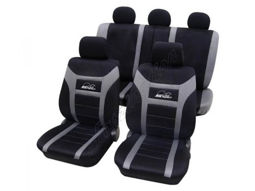 Preisvergleich Produktbild Sitzbezug Schonbezug Autositzbezug, Komplett-Set, VW Polo/Cross Polo ,Schwarz Grau