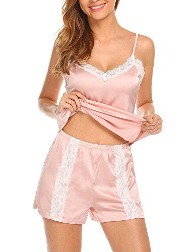 HOTOUCH Damen Schlafanzug V-Ausschnitt Pyjamas Shorty 2tlg ärmellos Top und Hosen kurz Spitzen Champagner XL (Damen-pyjama Ärmelloses)