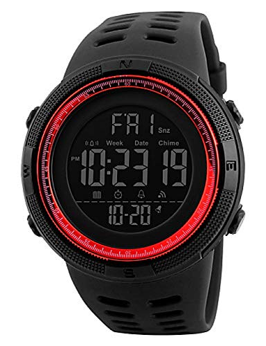 Men's Sport Watch Military Watch Wrist Watch Japanese Digital 50 m Water Resistant/Water Proof Alarm Calendar/Date/Day REd -