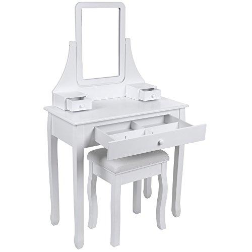 Songmics Schminktisch 3 Schubladen mit Spiegel Hocker inkl. 2 Stück Unterteiler, 80 x 136 x 40 cm (B x H x T) RDT003 - 4