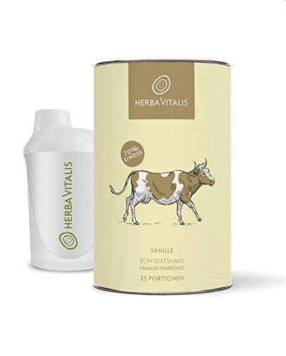 Diät Shake HerbaVitalis Vanille Made in Germany inklusive Protein Shaker 25er BCM Spar-Paket aus premium Eiweißpulver Protein Shake als Mahlzeitersatz