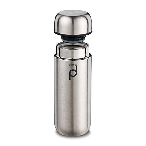 Grunwerg - Termo Aislante al vacío para Bebidas, a Prueba de Goteo, aguante de 8 Horas para Bebidas Calientes y 24 para Bebidas frías, Acero Inoxidable, Satinado, 200 ml