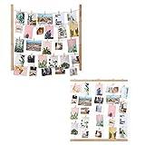 SONGMICS Bilderrahmen Collage 2 Set, DIY Bilderrahmen Fotowand, Massivholz, Fotowand mit 10 Hanfschnüren und 50 Kleinen Holzklammern, für Memos, Postkarten, Bilder, RPF61YL-2