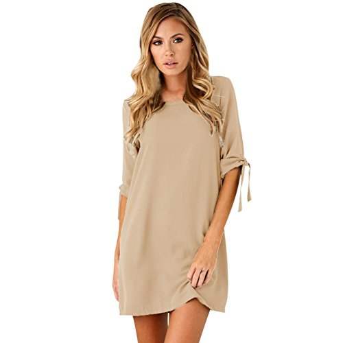koly-clothes Kleid Damen Kolylong® Frauen Elegante Kurze Ärmel Minikleid Sommer Kurzes Kleid Cocktail Party Kleid Strandkleid Abendkleid Bluse Hemd (S, Khaki) (Khaki True)