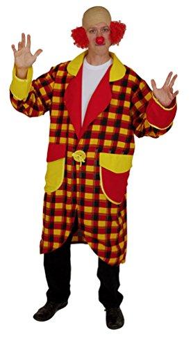 lown-Kostüm Herren bunt rot-gelb-schwarz Männer Clown-Mantel Herren Frits Herrenkostüm Größe 52 (Rote Und Schwarze Clown Kostüm)